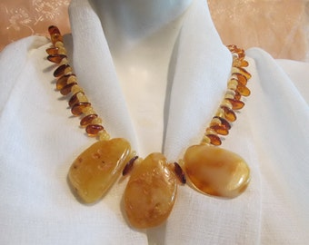 100% Natural Baltic #Amber #huge #Necklace, weight 40.8 grams, color #yellow egg yolk and brown