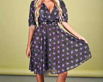 70s Purple Floral Dress Vintage Black Polka Dot Romantic Ruffles Dress