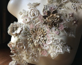 NEW Champagne, Gold & Blush 3D Applique #1 , Beaded for GRAD, Lyrical Dance, Ballet, Couture Gowns F