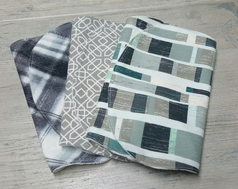 Organic Burp Cloth Set-Cotton Burp Cloth Set-Boy or Girl Burp Cloth-Set of 3 Burp Cloth-Baby Burp Cloth Set-Stylish Burp Cloth Set