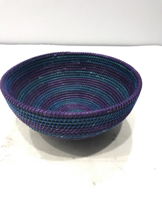 Basket African Lesotho Blue Purple Woven South Africa Handmade Hand Woven Coiled Woman Unique SM39