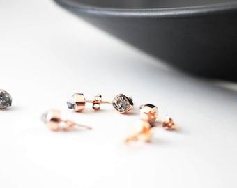 Herkimer Diamond Rose Gold Earring Studs   Herkimer Diamond Studs   Rose Gold Earrings   Gift For Wife   Stud Earrings   Anniversary Gift