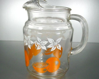 Federal Glass Vintage Juice/Beverage  Pitcher Oranges and Daffodils