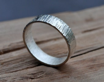 Men's High Shine Bark Wedding Band. Textured. Sterling Silver Ring. Hammered. Gloss. 6mm Wide Flat Band. Custom. Recycled. Eco.