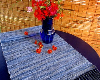 "Handwoven Rug, Denim Blues, Cloth Strip, Using Traditional Rag Weaving Techniques Classic Americana! Size: 20"" x 55"""