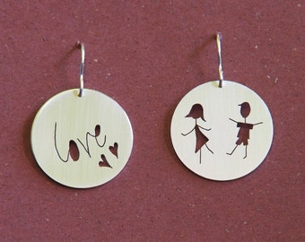 Love For The Children Earrings, sterling silver, handmade, family