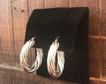 14 k white gold hoop earrings