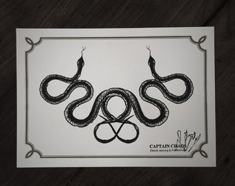 LIMITED Double Snake - Tattoo print 50/50 signed