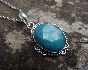 "Sterling Silver Natural Genuine Adventurine Pendant Necklace Sterling Silver 18"" Chain - Natural Stone Necklace  Boho chic Necklace"