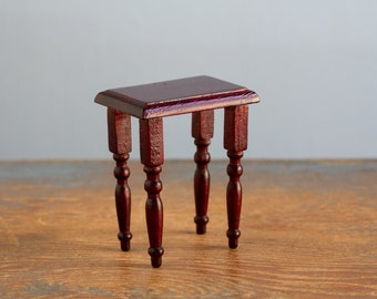 Wooden Side Table - 1:12 Scale Vintage Dollhouse Furniture