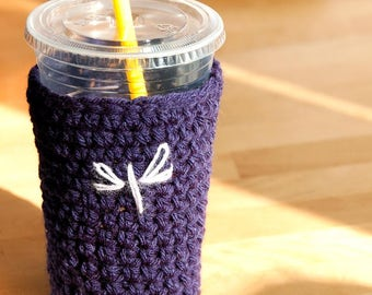 dragonfly iced coffee cozy, sleeve, holder