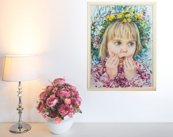 Children portrait, oil portrait, custom oil portrait, baby, child, from photo