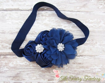 Navy Blue Flower Headband, Satin & Chiffon Flowers w/ Rhinestones Headband or Hair Clip, Flower Girl Headband, Baby Child Girls Headband