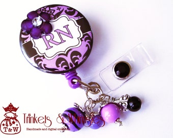 Damask Orchid Purple and Black RN Registered Nurse Retractable Badge Holder