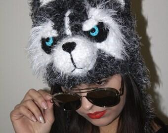Husky earflap Hat Adult Hat Children Hat Husky Dog Hat Siberian Husky Beanie Blue eyes All Sizes