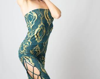 Women's Infiniti Wrap Illuminate Print Dress- organic  eco-friendly  versatile  sanskrit  flower of life  handmade  festival 