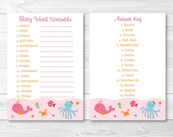 Pink Under the Sea Baby Word Scramble / Under The Sea Baby Shower / Sea Animals / Baby Shower Word Scramble Game / INSTANT DOWNLOAD A192