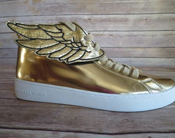 Metallic Gold Faux leather wings stitched with black threadPercy Jackson Inspired Shoe Wings