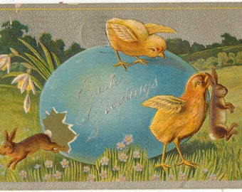 Vintage Easter Postcard, Bunny in Easter Egg, and Chick Carrying Bunny by Ears