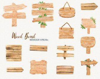 Wooden Signs. Watercolor Clipart, wood planks, signboards, quotes, handpainted, diy elements, lettering, invite, quotes, card, notice, chalk