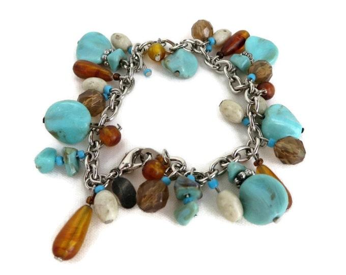 Turquoise Cha Cha Bracelet, Vintage Bracelet, Amber Bracelet, Worthington Bracelet, Green Bead Bracelet, Chain Link Bracelet, Boho Jewelry