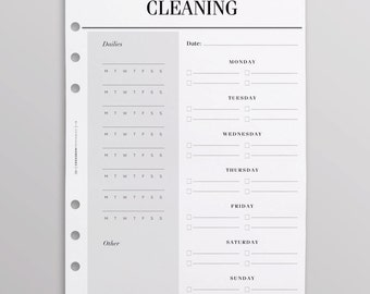 PRINTED Weekly Cleaning Schedule   Cleaning Checklist   Cleaning Planner Pages    Chore Chart Inserts   A5 Planner Inserts Printed
