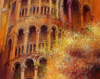 The Bovolo Tower - Venetian greetings card from an original painting by D Y Hide available as a print