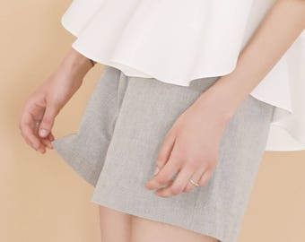 Grey organic cotton shorts - High waisted shorts - Eco friendly shorts - Wide leg pants women