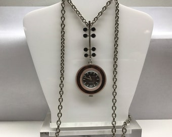 Bulova Vintage1970's Modernist Necklace Watch Runs Great