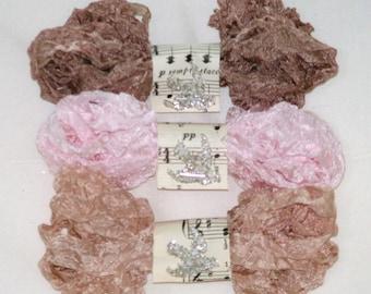 Seam Binding - Crinkled - Ribbon - 18 YARDS - Blush Pink - Beige - Bella