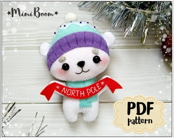 Polar bear pattern Christmas pattern bear felt pattern Polar bear ornament Christmas sewing PDF pattern Christmas bear ornament felt PDF