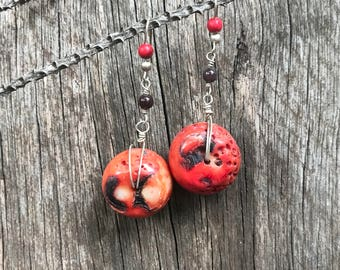 Chunky red coral earrings