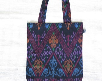 (Bag) Totebag ikat (weaving technique / Indonesia)-KIWON / / black, purple, orange and blue