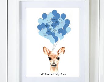 Blue Deer Baby Shower Guest Book Alternative