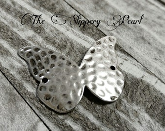 Butterfly Connector Pendant Butterfly Link Antiqued Silver Hammered Finish Butterfly Pendant
