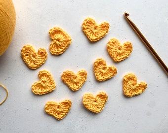 Yellow Crochet hearts - Crochet flowers - Crochet applique hearts - Crochet appliqué flowers