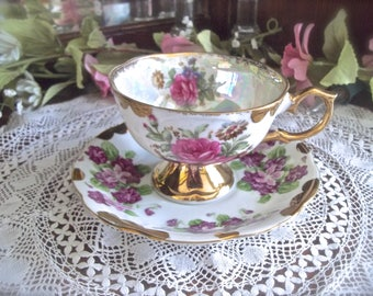 Lusterware Teacup, Vintage Teacup And Saucer, Pedestal Teacup, Shabby Roses Teacup, Lilac Flowers Teacup, Cottage Teacup And Saucer