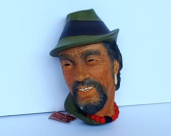 "Bossons 1960s Bossons ""Tibetan"" Chalkware Head Made in England Vintage"