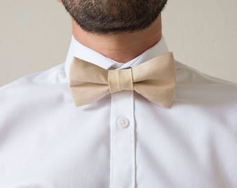 Beige cotton adjustable adult bowtie / bow tie