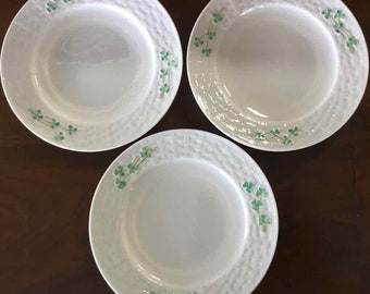 Vintage Belleck Porcelain Set of Three Plates with Shamrocks - Made in Ireland - 1955 to 1965