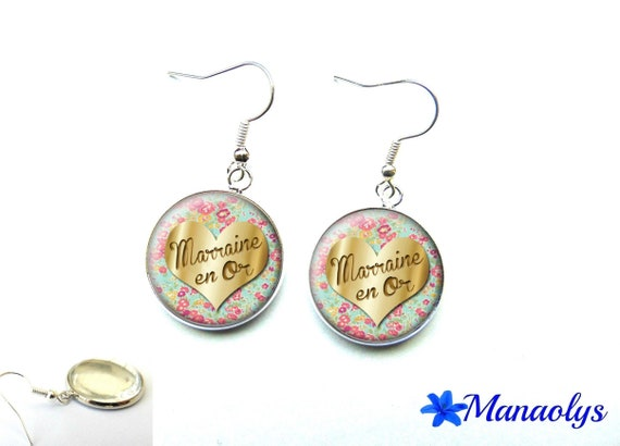 Godmother earrings in gold, pink flowers, cabochons glass 1541