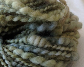 Beehive Coils ART YARN spring green mint Wool handspun artyarn 71 yards treasure goddess stacks cooons