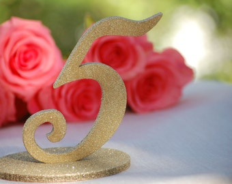 Gold Glitter Wedding Table Numbers, Wedding Table Number Signs, Wedding Reception Numbers, Wedding Table Decor, Gold Wedding Centerpiece