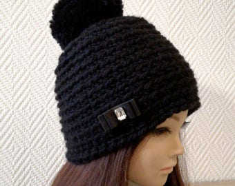 Black pom pom beanie hat, Black Beanie,Black Hat, Beanie  hat, Womens Hat,  Wool Beanie, Girlfriend Gift