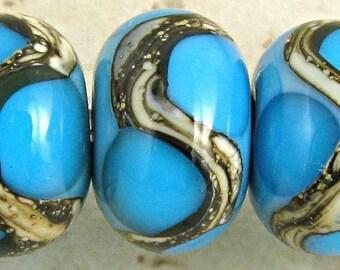 Blue Handmade Lampwork Glass Bead Set of 6 Silvered Ivory Web Small 11x7mm Aqua on Turquoise