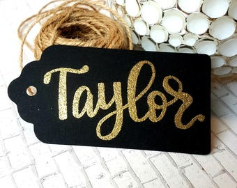 CUSTOM Gold & Black Hang Tag w/Twine. (Gift Tag, Name Tag, Wedding Place Card, Holiday Tag)
