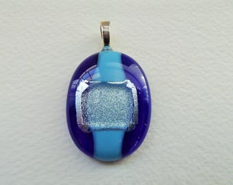 CB 226 Fused Cobalt glass pendant.