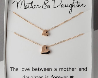 Mother & Daughter Necklaces, heart necklace, love forever, twin necklace, gold heart necklace