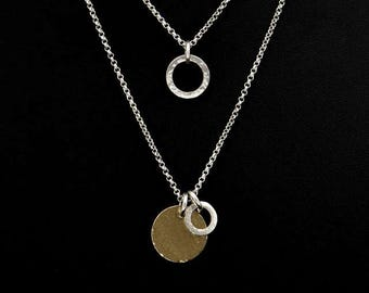 Sterling Silver and 14K Gold Filled Layered Necklace Set - Sterling Silver Layered Pendant Set - Gold Filled Hammered Disc