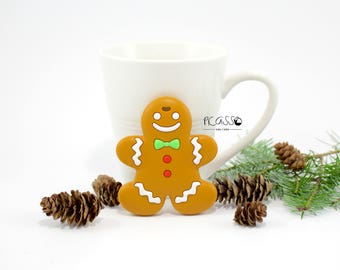 Teether GINGERBREAD food silicone, baby, chew toy, shower gift, Breastfeeding, Chewing pendant, Toy teether, pendant, Christmas gift, DIY